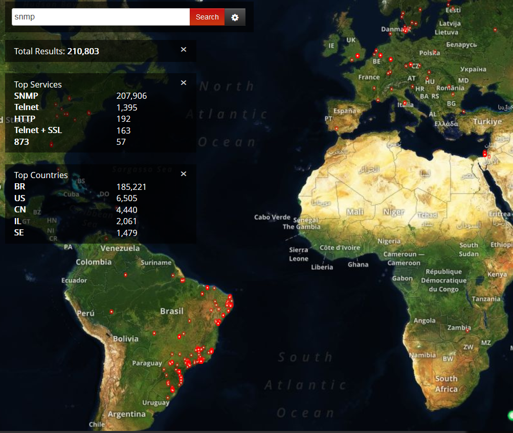 WORLDWIDE SNMP SHODAN MAP
