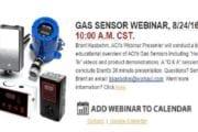 LIVE ACI Gas Sensor WEBINAR August 24th, 10:00 AM, CST, with Brant Kasbohm